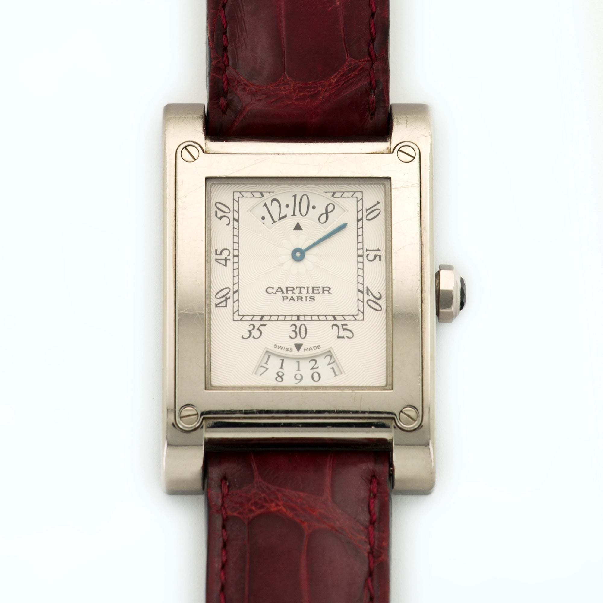 Cartier Tank A Vis W1533451 18k WG  Excellent Gents 18k WG Silver 28mm Manual 2000s Dark Red Crocodile Box