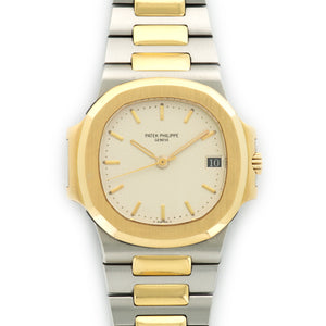 Patek Philippe Nautilus 3800/1JA Two-Tone  Signs of Average Wear, Original Finish Gents Two-Tone Creme with Yellow Gold Indexes 37mm Automatic 1980s Two-Tone Bracelet Handmade Leather Travel Pouch