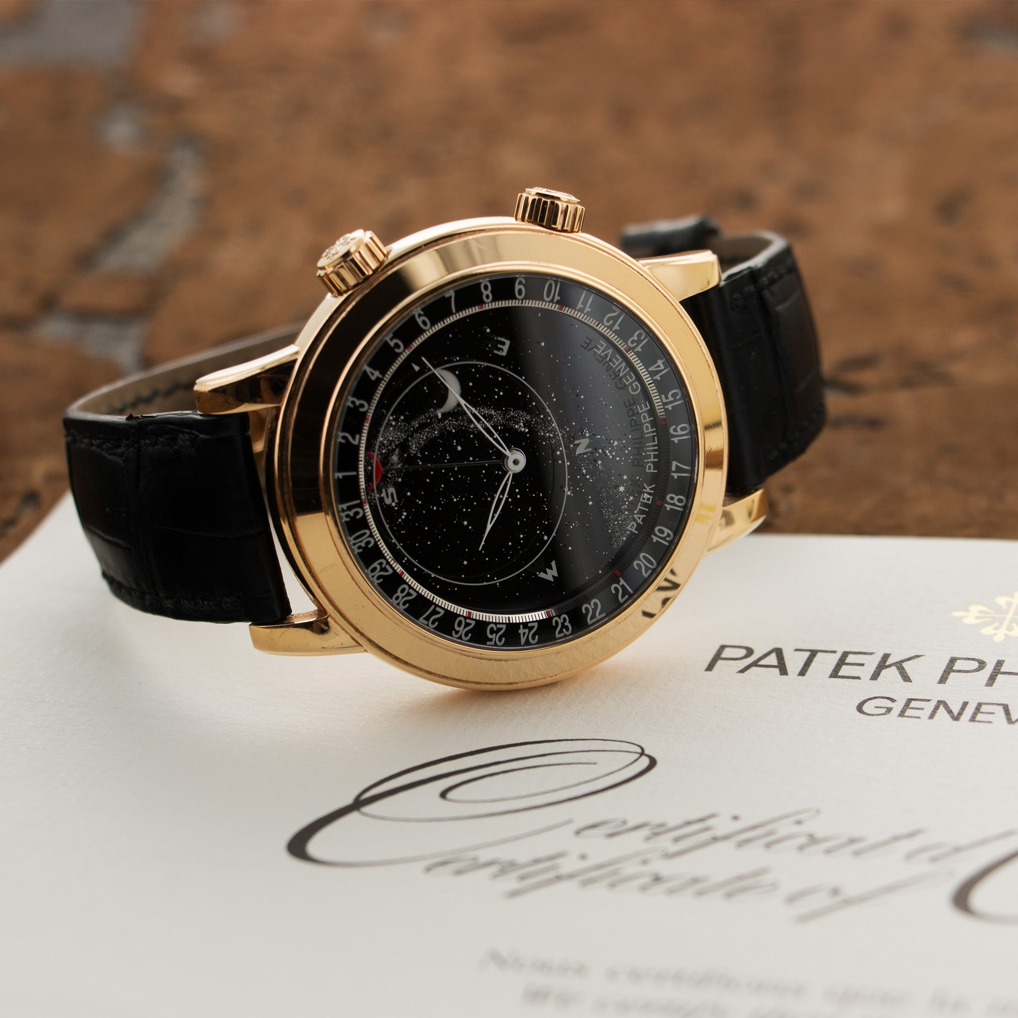 Patek Philippe Celestial 6102R 18k RG  Excellent Gents 18k RG Black 44mm Automatic 2016 Black Crocodile Original Box and Certificate