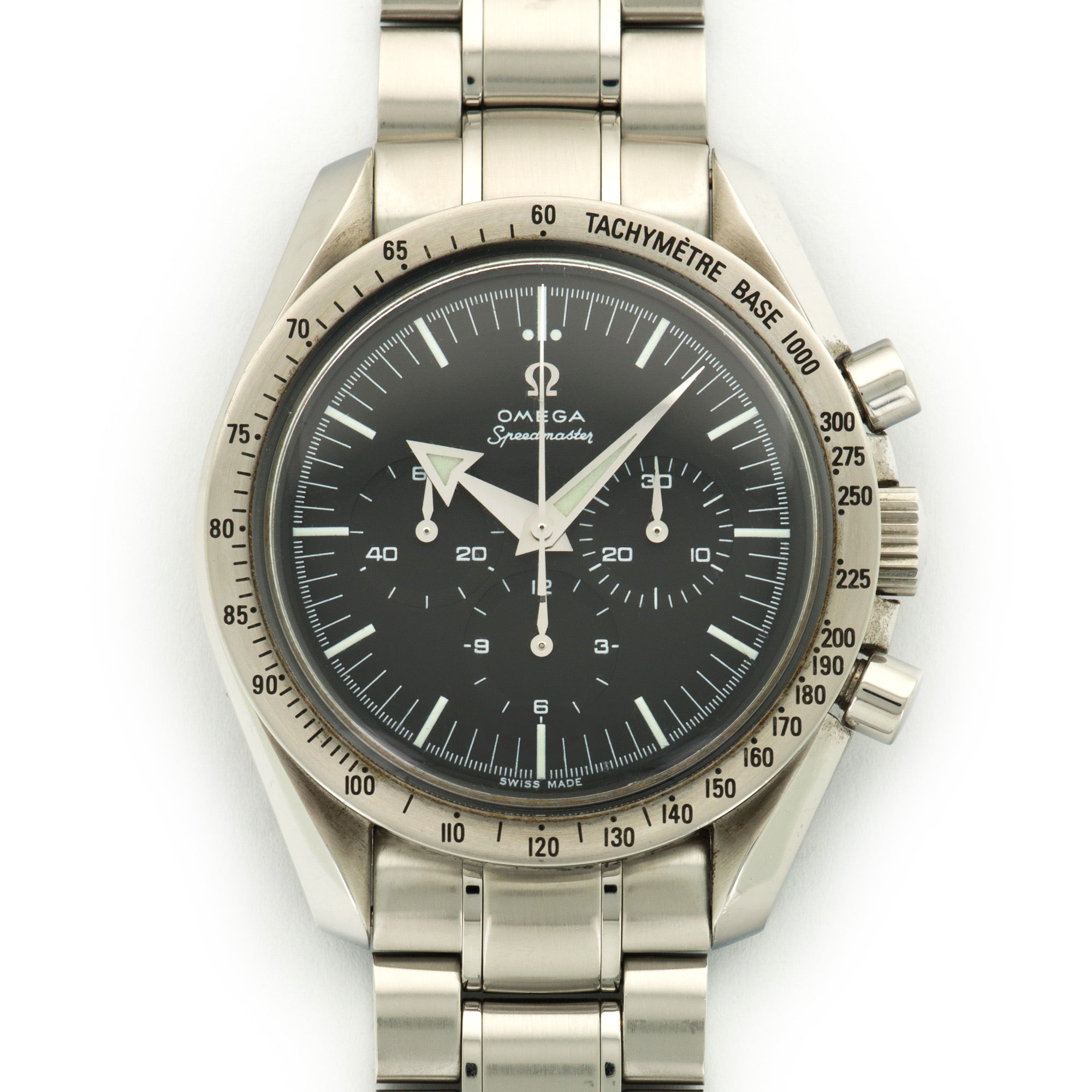 Omega Speedmaster 35945000 Steel  Likely Never Polished, Original Finish Gents Steel Black 42mm Manual 2000s Steel Bracelet Original Warranty Paper
