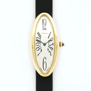 Cartier Baignoire 2605 18k YG  Mint Ladies 18k YG Silver with Black Arabics 21.7 X 47.5mm Quartz 1990s Black Satin N/A