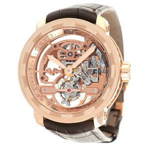 Dewitt Skeleton T8.TH.008B 18k RG  New Gents 18k RG Skeleton 43mm Manual 2020 Croc Original Box and Certificate