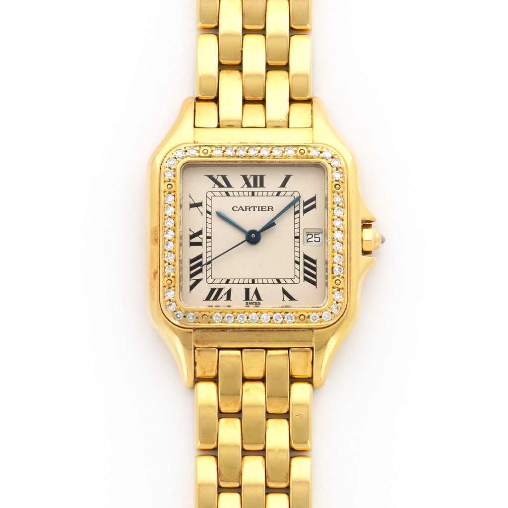 Cartier Panthere N/A 18k YG  Excellent Unisex 18k YG Cream 30mm Quartz 1990s Yellow Gold Bracelet Leather Travel Case