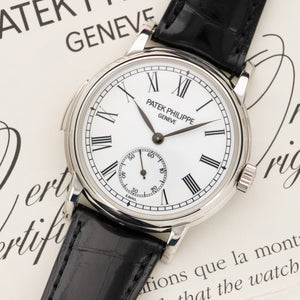 Patek Philippe Minute Repeater 5078P-001 Platinum  Mint Gents Platinum White Enamel Dial 38.5mm Automatic 2006 Black Crocodile Box, Certificate, and Additional Solid Case Back
