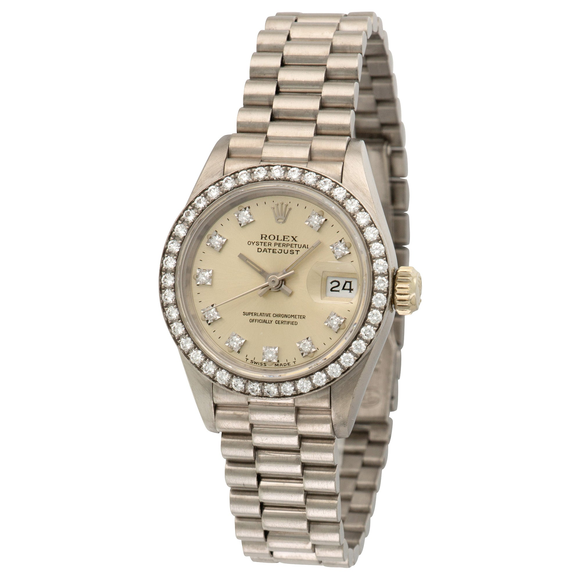 Rolex Datejust 69139 18k WG  Excellent Ladies 18k WG Silver with Diamond Markers 26mm Automatic 1989 White Gold Bracelet Leather Travel Case