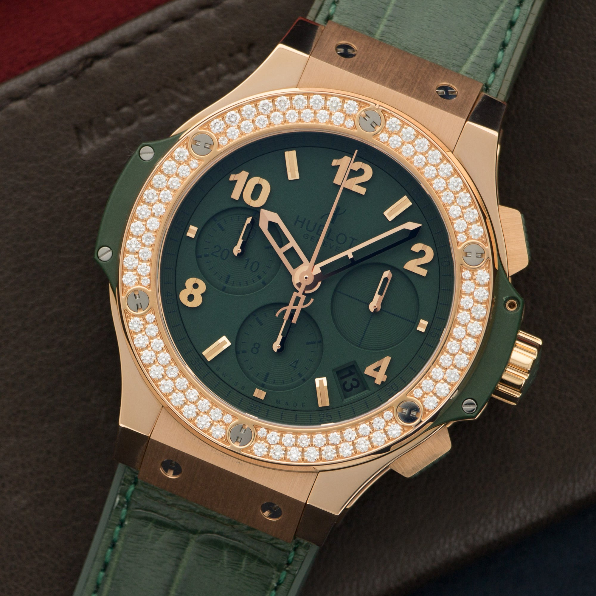 Hublot Tutti Frutti 341.PV.5290.LR.1104 18k RG  Unworn Unisex 18k RG Dark Green 41mm Automatic Current Green Crocodile (u Box, Manuals, Warranty Card