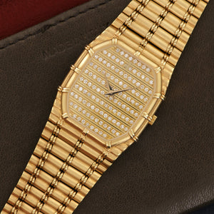 Audemars Piguet Bamboo N/A 18k YG  Excellent Unisex 18k YG Pave Diamonds 26mm Quartz 1980s Yellow Gold Bamboo Design Leather Travel Case