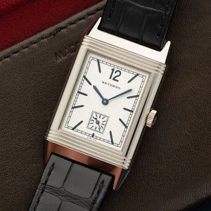 Jaeger LeCoultre Reverso Q2783520 18k WG  Unworn Gents 18k WG White 46 X 27mm Manual Current Black Crocodile Original Box and Certificate