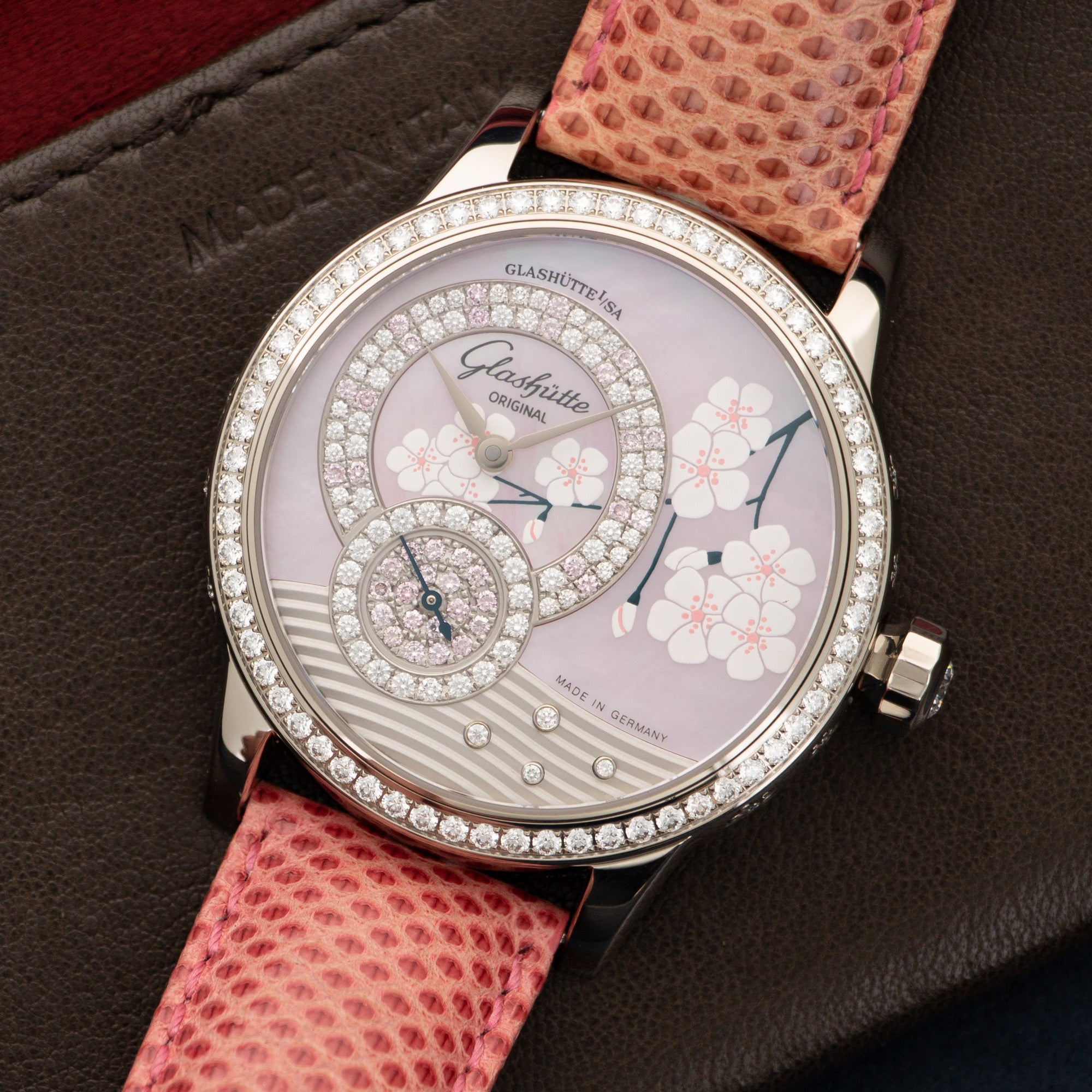 Glashutte Spring Blossom 90-00-04-04-04 18k WG  Unworn Unisex 18k WG Mother of Pearl with Pave Diamonds 39mm Automatic 2018 Pink Strap Original Box and Certificate