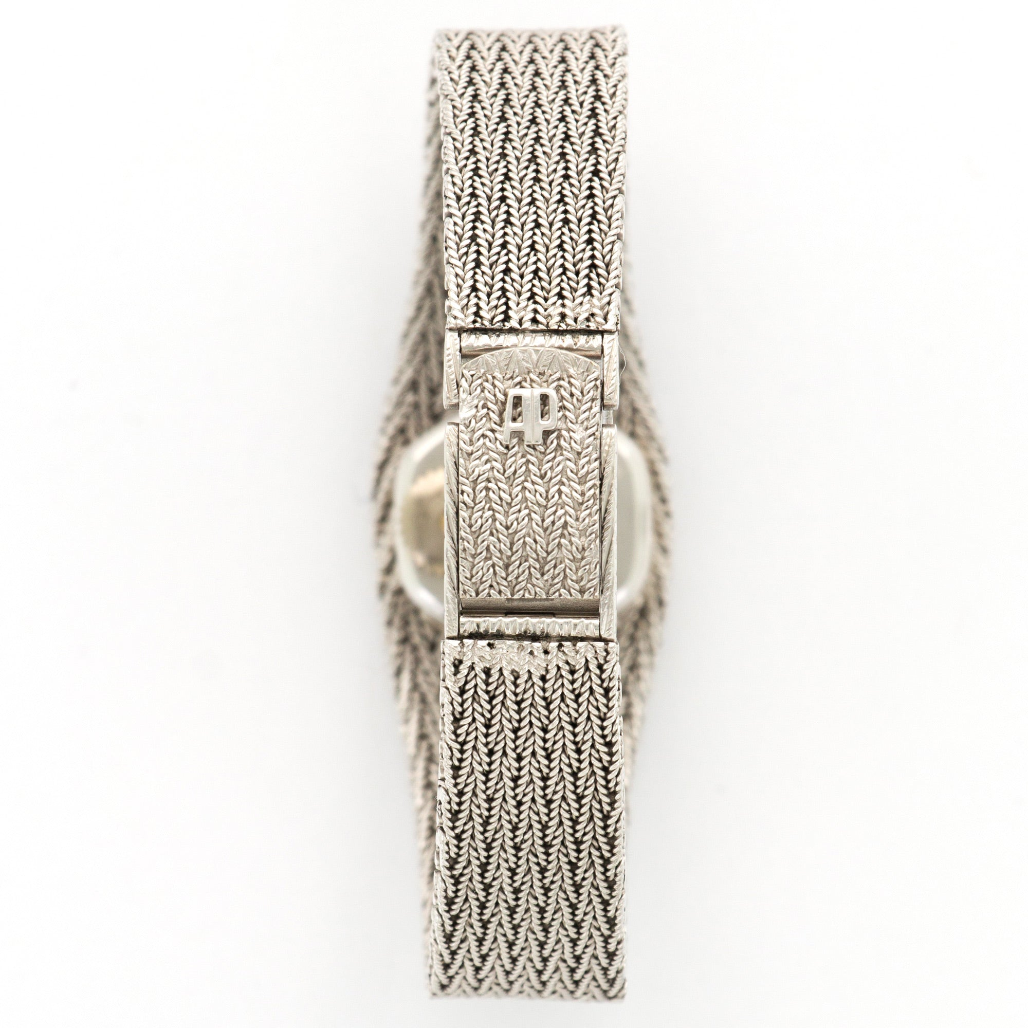 Audemars Piguet Vintage N/A 18k WG  Excellent Ladies 18k WG Silver with Diamond Markers 21mm Back-Wind 1970s White Gold Bracelet Handmade Leather Travel Pouch