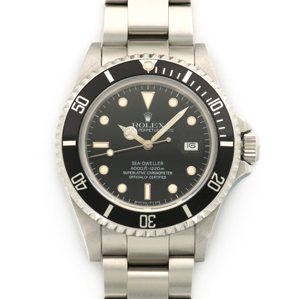 Rolex Sea-Dweller 16660 Steel  Signs of Average Wear, Original Finish Gents Steel Black 40mm Automatic 1987 Stainless Steel Bracelet Handmade Leather Travel Pouch