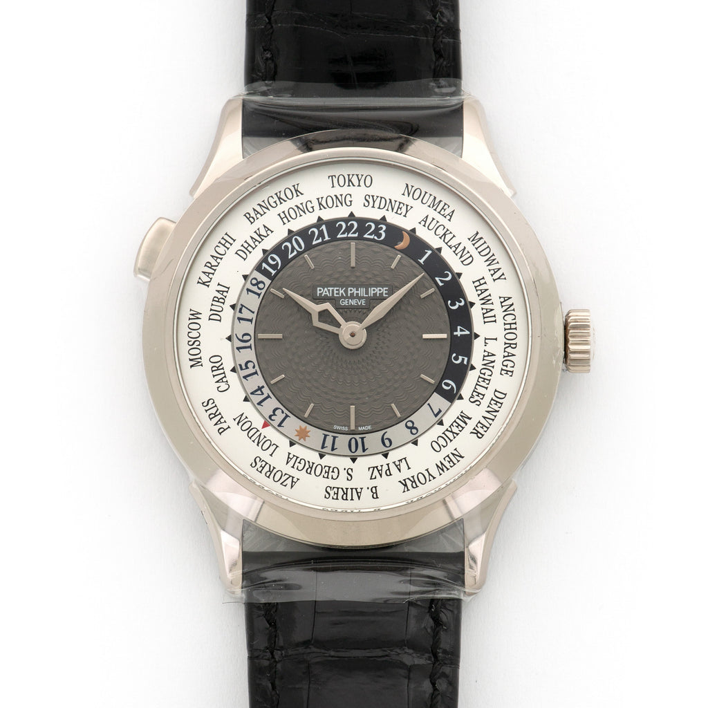 Patek Philippe World Time 5230G-001 18k WG  Unworn NO STYLE SPECIFIED 18k WG Silver and Grey 38.5mm Automatic 2018 Black Crocodile Original Box and Certificate