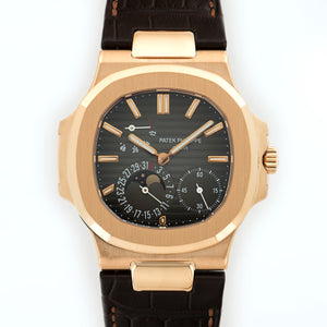 Patek Philippe Nautilus Moonphase 5712R 18k RG  Mint Gents 18k RG Brown 43 X 38mm Automatic 2008 Brown Crocodile B+P