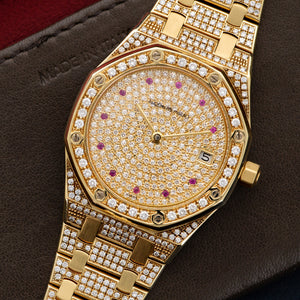 Audemars Piguet Royal Oak N/A 18k YG  Overall Mint Original Condition Unisex 18k YG Pave Diamond with Ruby Markers 37mm Automatic 1990s Yellow Gold with Pave Diamonds Leather Travel Case