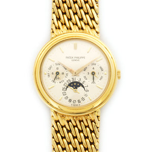 Patek Philippe Perpetual Calendar 3945/1 18k YG  Likely Never Polished, Original Finish Gents 18k YG Cream 36mm Manual 1980s Yellow Gold Bracelet Handmade Leather Travel Pouch