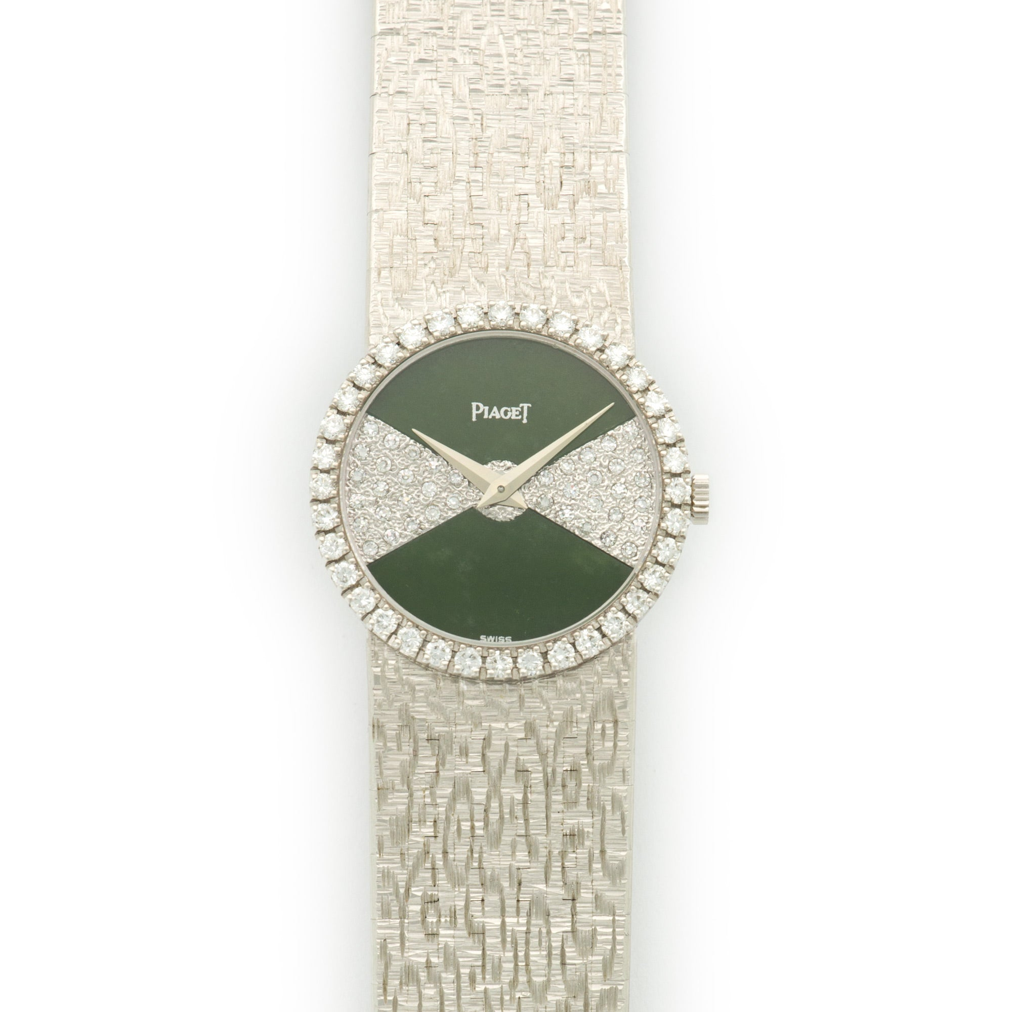 Piaget Vintage 9706 18k WG  Overall Mint Original Condition Ladies 18k WG Pave Diamond and Nephrite Jade 25mm Manual 1970s White Gold Bracelet (177mm) Handmade Leather Travel Pouch