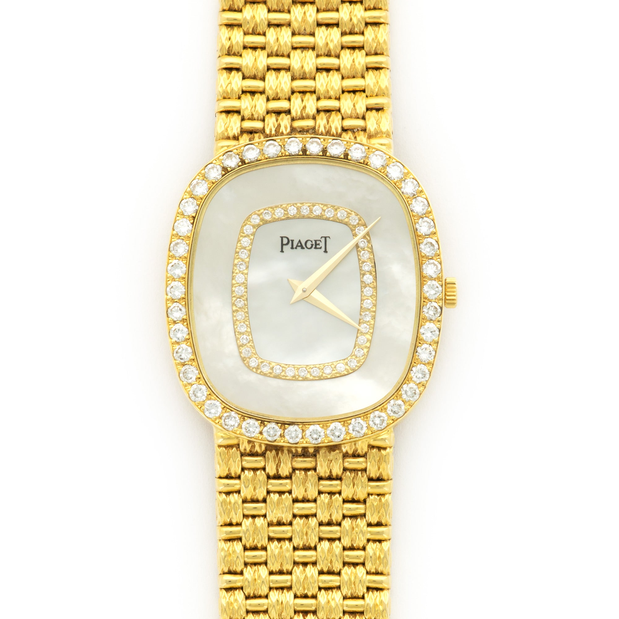 Piaget Vintage 84431 18k YG  Excellent Ladies 18k YG Mother of Pearl with Diamonds 28mm X 32mm Manual 1980s Yellow Gold Bracelet (180mm) Handmade Leather Travel Pouch
