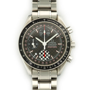 Omega Speedmaster 3259.50.00 Steel  Likely Never Polished, Original Finish Gents Steel Black 39mm Automatic 2012 Steel Bracelet Handmade Leather Travel Pouch