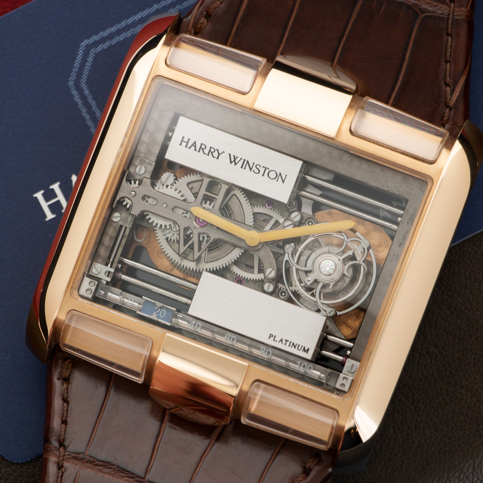 Harry Winston High Complications 350/MATRL 18k RG  Mint Gents 18k RG Skeletonized 49mm Manual Recent Brown Crocodile Original Box and Certificate