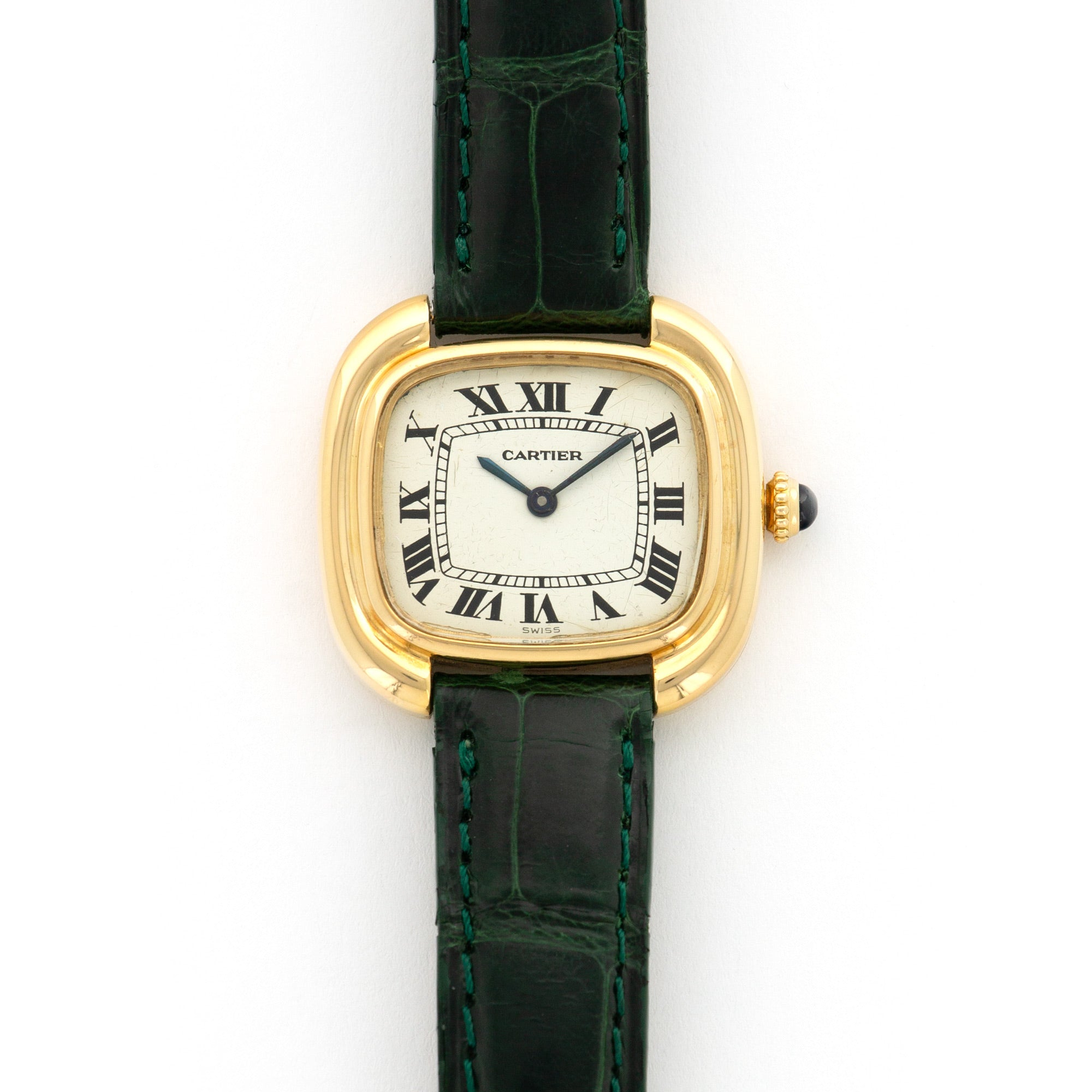 Cartier Ellipse N/A 18k YG  Very Good Ladies 18k YG White with Roman Numerals 27mm Manual 1970s Green Crocodile Leather Travel Case