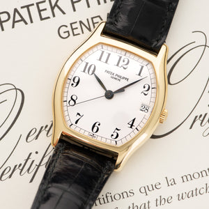 Patek Philippe Gondolo 5030J 18k YG  Likely Never Polished, Original Finish Unisex 18k YG White with Black Numerals 34mm Automatic 1996 Croc Original Box and Certificate