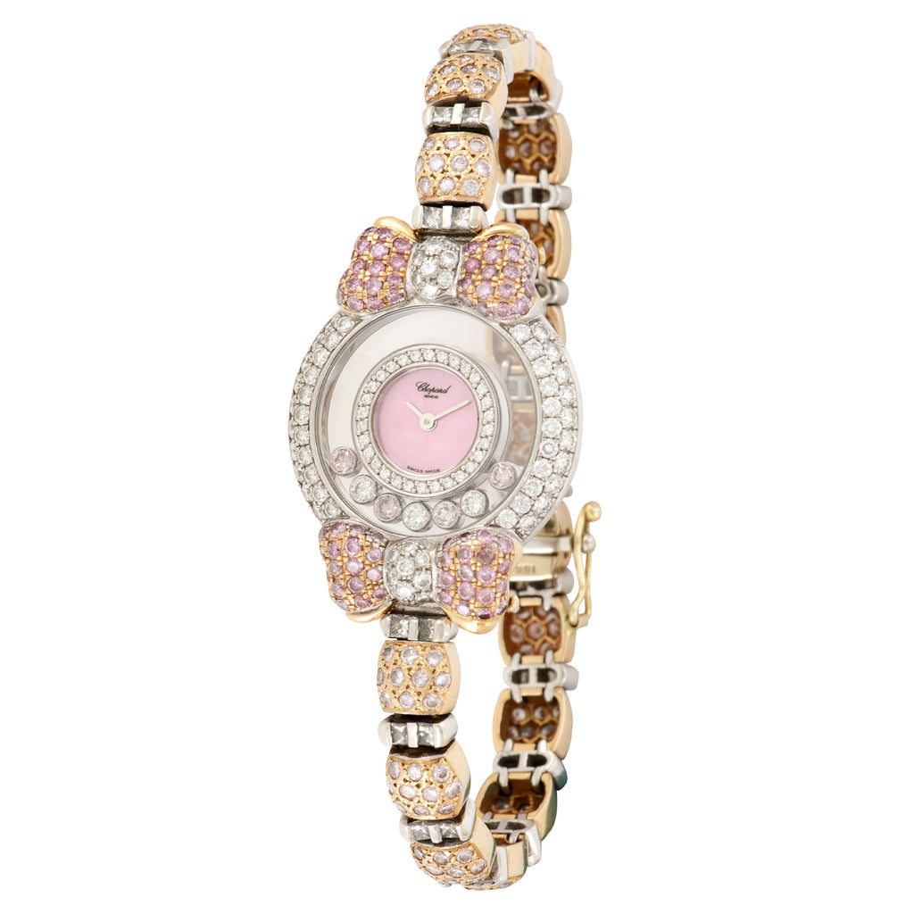 Chopard Happy Diamonds 20/6315-29 18k WG  Excellent Ladies 18k WG Pink Mother of Pearl 26mm Quartz 2000s Custom White and Yellow Gold with Diamonds Leather Travel Case