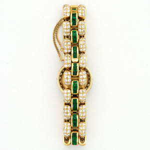 Adler Boutique N/A 18k YG  Excellent Ladies 18k YG White 18.5mm Quartz 2000s Yellow Gold Bracelet with Diamonds and Emeralds (5) N/A