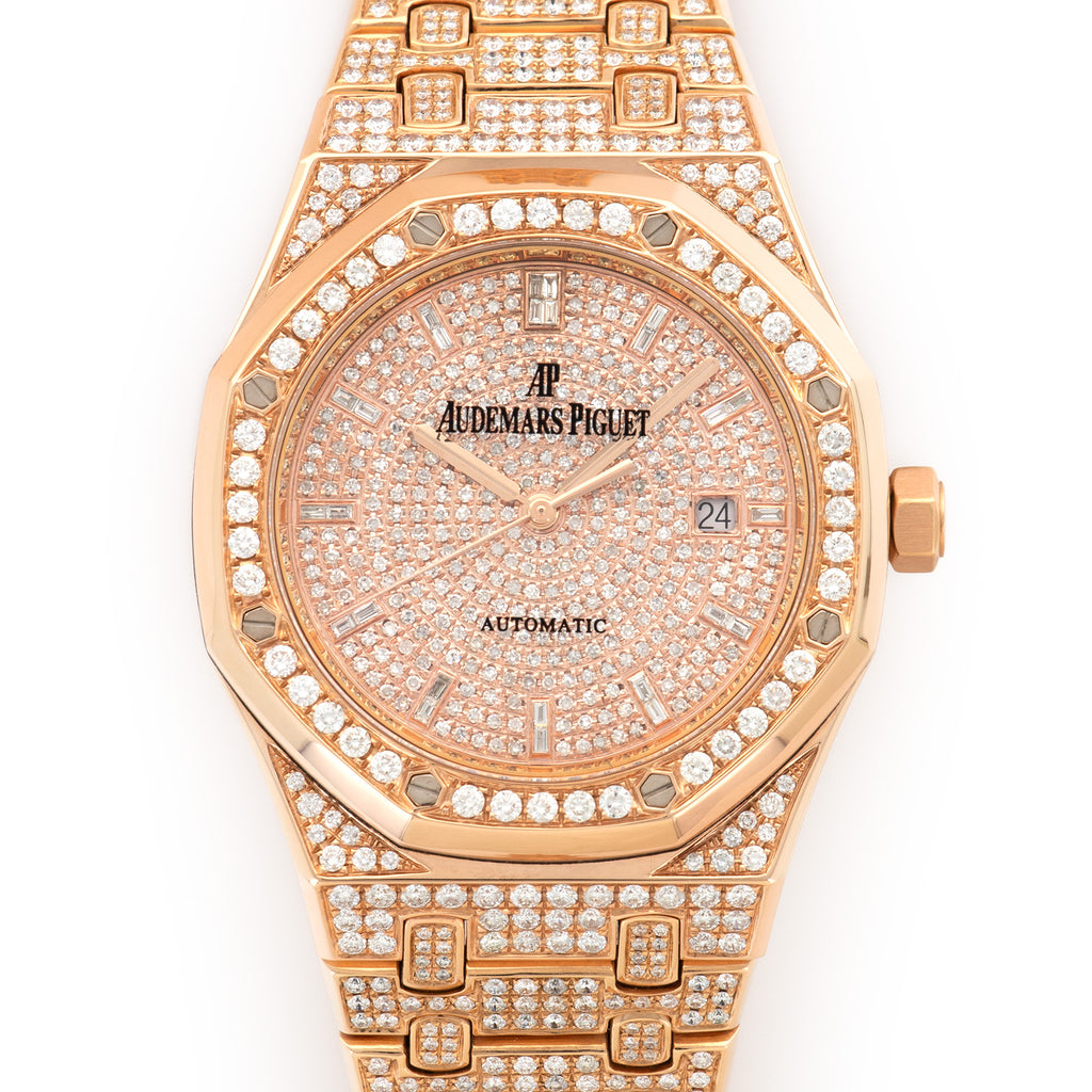 Audemars Piguet Royal Oak 15400OR 18k RG  Excellent Unisex 18k RG Pave Diamonds 41mm Automatic Current Custom Rose Gold Bracelet with Diamonds Leather Travel Case