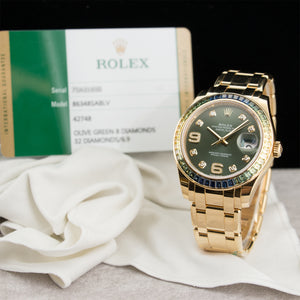 Rolex Datejust 86348SABLV 18k YG  Mint Unisex 18k YG Green with Diamond Markers 39mm Automatic 2016 Yellow Gold B+P