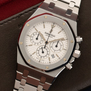 Audemars Piguet Royal Oak Chrono 25860ST.00.111 Steel  Mint Gents Steel Silver 39mm Automatic 2000s Stainless Steel Handmade Leather Travel Pouch