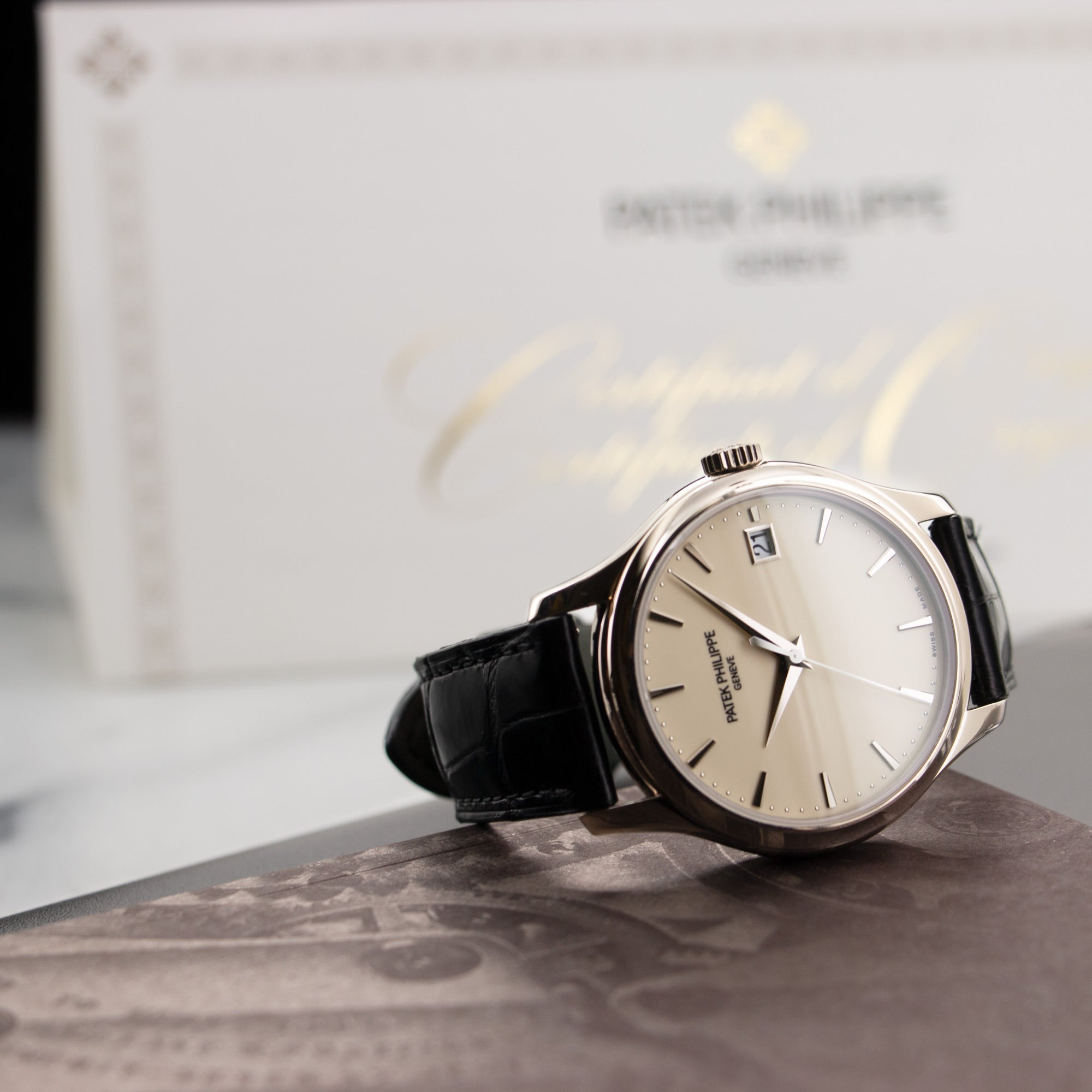 Patek Philippe Calatrava 5227G-001 18k WG  Like New, Worn a Few Times Gents 18k WG Ivory 39mm Automatic 2017 Black Crocodile Original Box and Certificate