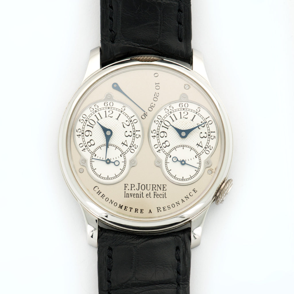 FP Journe Chronometre A Resonance Platinum  Mint Gents Platinum Silver/Grey 38mm Manual 2004 Black Crocodile B+P