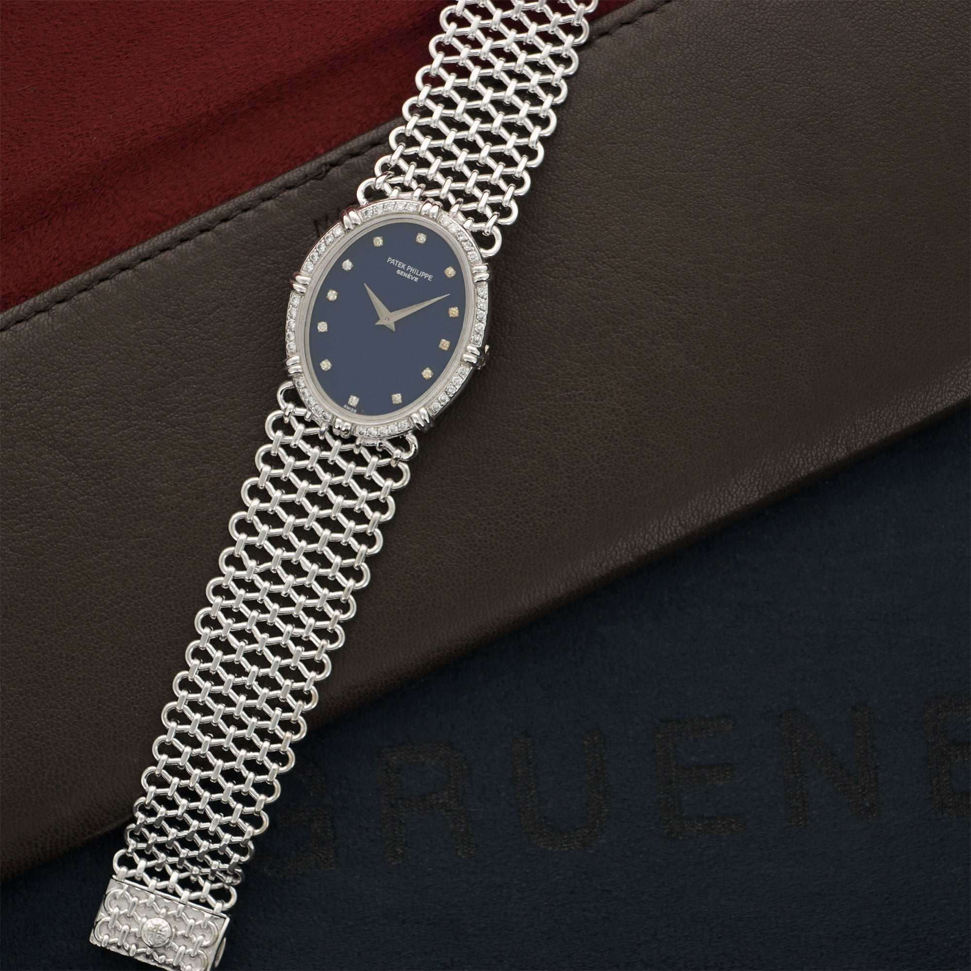 Patek Philippe Vintage 4286 18k WG  Excellent Ladies 18k WG Blue with Diamonds 27mm X 33mm Manual 1970s White Gold Diamonds (180mm) N/A