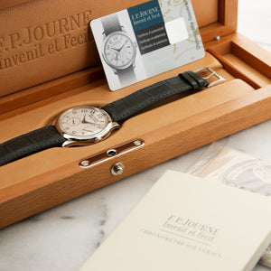 FP Journe Chronometre Souverain N/A Platinum  Excellent Gents Platinum Silver 40mm Manual Current Grey Crocodile Original Box and Certificate