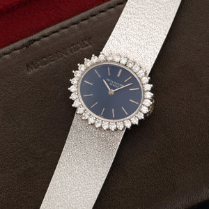Patek Philippe Vintage 4117 18k WG  Excellent Ladies 18k WG Blue 25.5mm Manual 1970s White Gold Bracelet Leather Travel Case