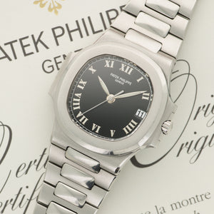 Patek Philippe Nautilus 3800/1A Steel  Likely Never Polished, Original Finish Unisex Steel Black with Luminous Roman Numerals 37.5mm Automatic 2006 Stainless Steel Bracelet Original Box and Certificate