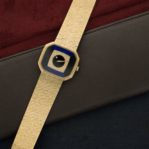 Piaget Vintage 9781 18k YG  Mint Gents 18k YG Onyx, Lapis, Diamonds 32mm Manual 1970s Yellow Gold Bracelet (205mm) N/A