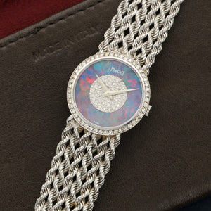 Piaget Vintage 925 E 21 18k WG  Excellent Ladies 18k WG Opal and Diamonds 25mm Manual 1970s White Gold Bracelet (160mm) Handmade Leather Travel Pouch