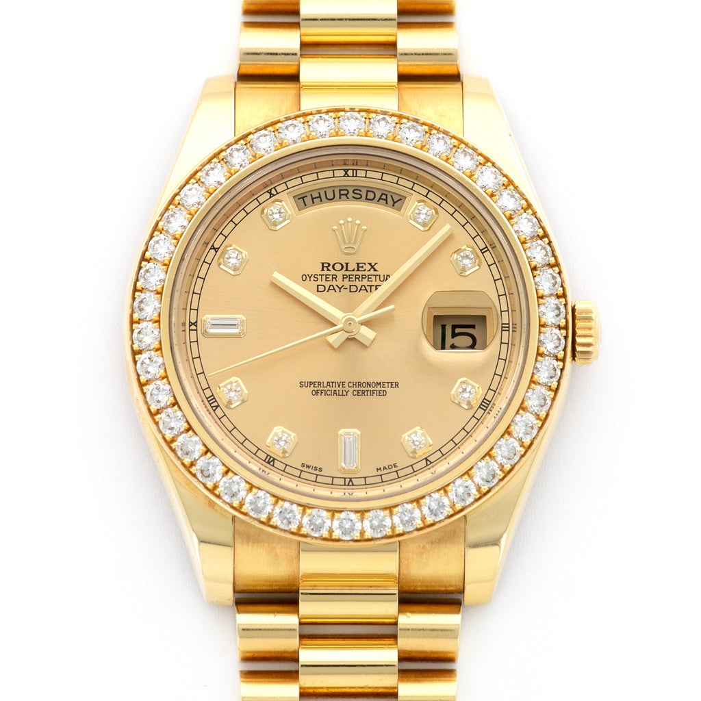 Rolex Day-Date II 218348 18k YG  Excellent Unisex 18k YG Champagne Gold Dial with Diamonds 41mm Automatic Late 2000s Yellow Gold Bracelet Original Box and Certificate