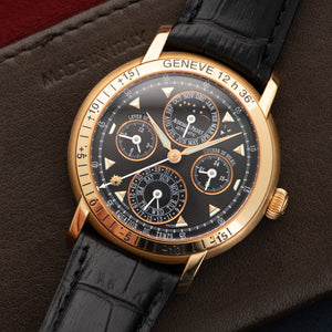 Audemars Piguet Equation of Time 25934OR 18k RG  Likely Never Polished, Original Finish Gents 18k RG Black 39mm Automatic Early 2000s Black Crocodile Leather Travel Case