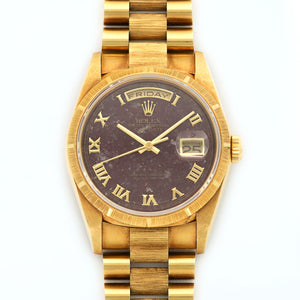 Rolex Day-Date 18248 18k YG  Mint Unisex 18k YG Rubelite with Roman Numerals 36mm Automatic 1995 Yellow Gold Bracelet N/A