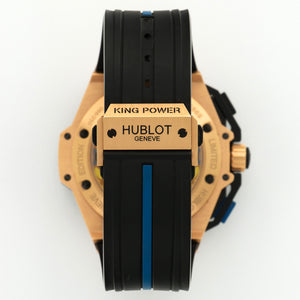 Hublot King Power 716.OM.1129.RX.EUR12 18k RG  Excellent Gents 18k RG Skeletonized with Blue Accents 48mm Automatic 2012 Rubber Box, Manuals, Warranty Card