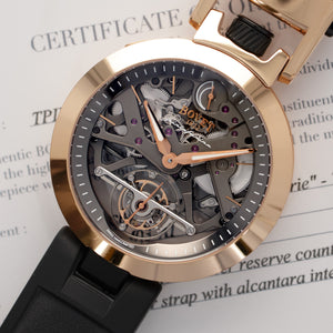 Bovet Ottantadue TPIND001 18k RG  Excellent Gents 18k RG Skeletonized 45mm Manual Current Original Box and Certificate