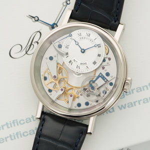 Breguet La Tradition 7057BB/BB/11/9WB 18k WG  Like New, Worn a Few Times Gents 18k WG Skeletonized 40mm Manual 2017 Dark Blue Crocodile Original Box and Certificate