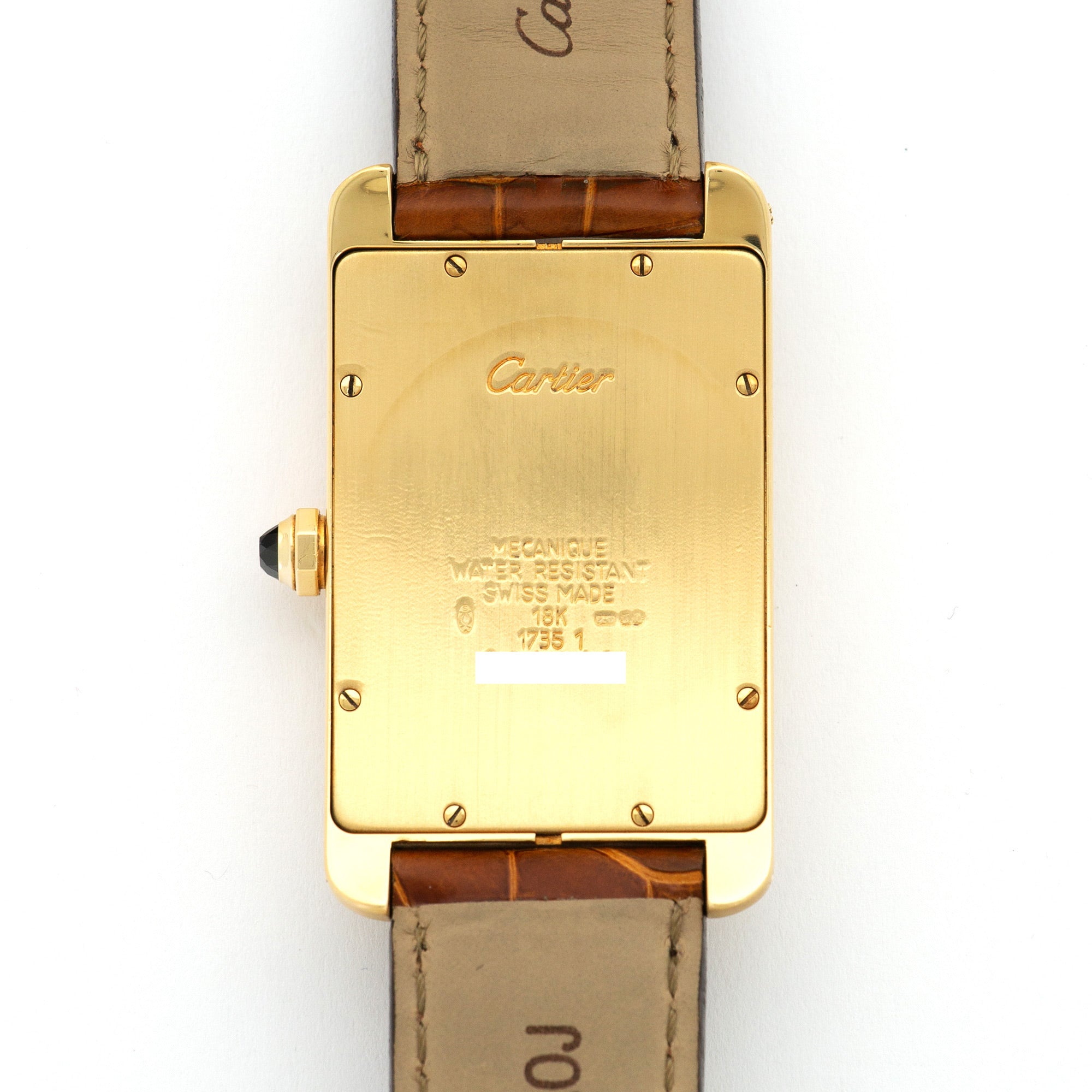 Cartier Tank Americaine 1735 18k YG  Excellent Unisex 18k YG Silver with Black Roman Numerals 26 X 45mm Manual 2000s Brown Crocodile Leather Travel Case