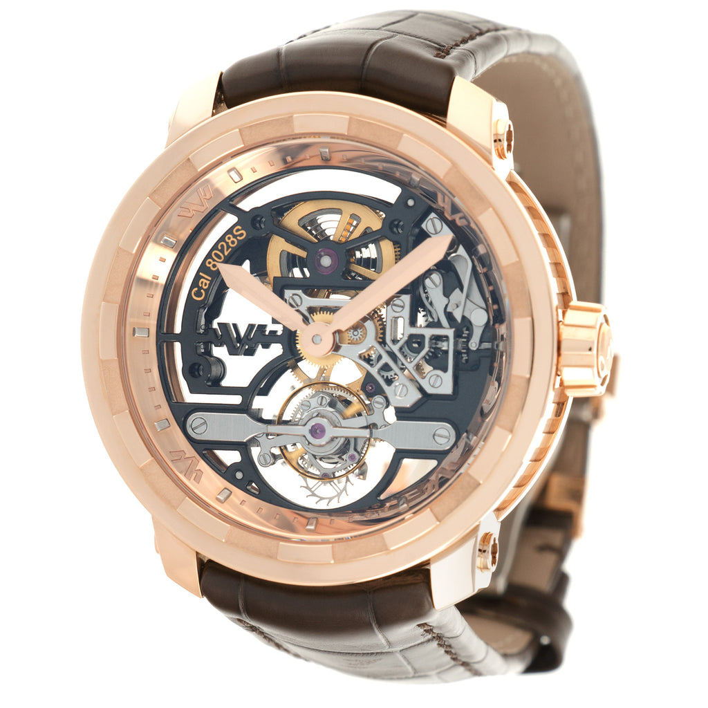 Dewitt Skeleton T8.TH.008A 18k RG  New Gents 18k RG Skeleton 43mm Manual 2020 Croc Original Box and Certificate