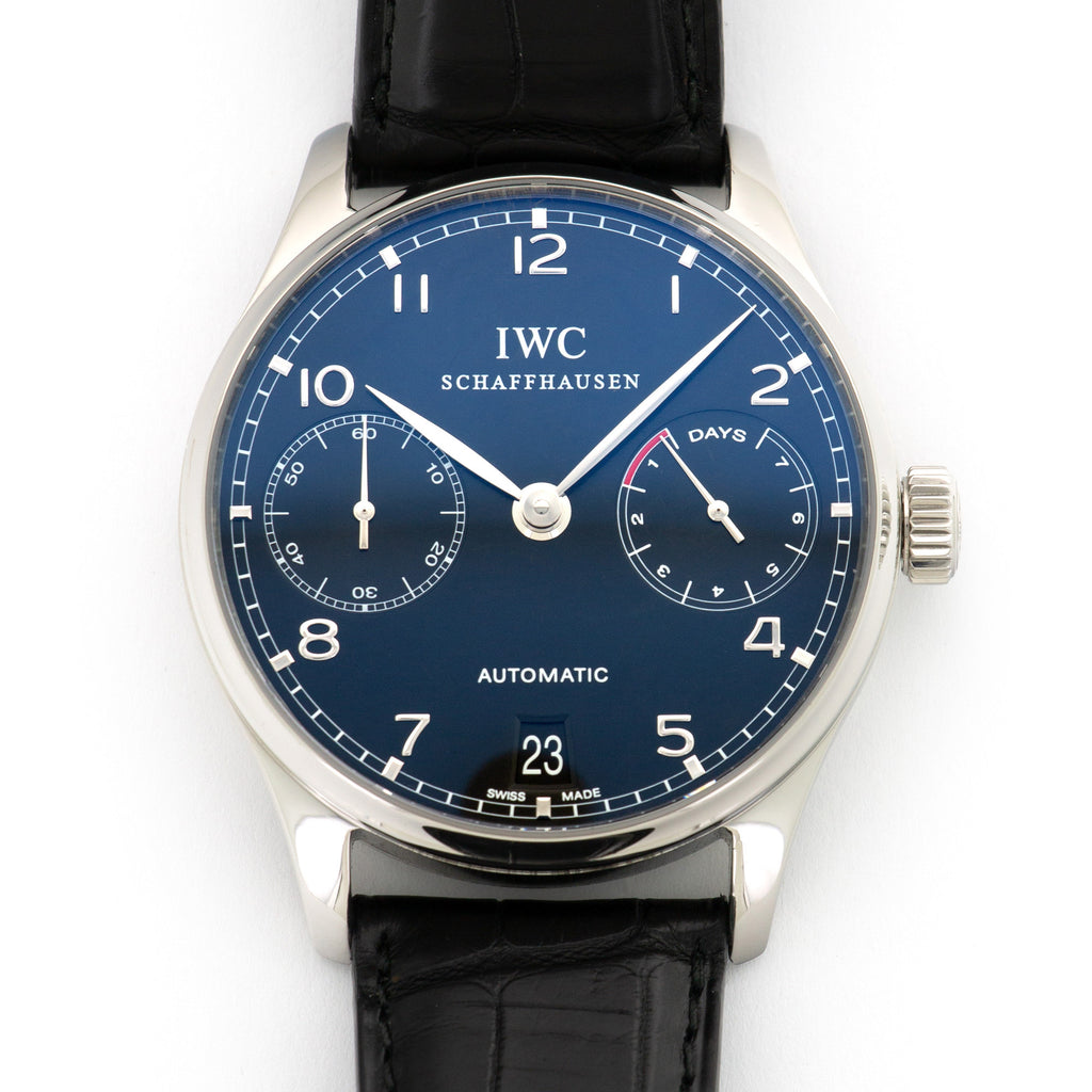 IWC Portuguese IW500109 Steel  Excellent Unisex Steel Black 42 mm Automatic Current Black Crocodile Leather Travel Case