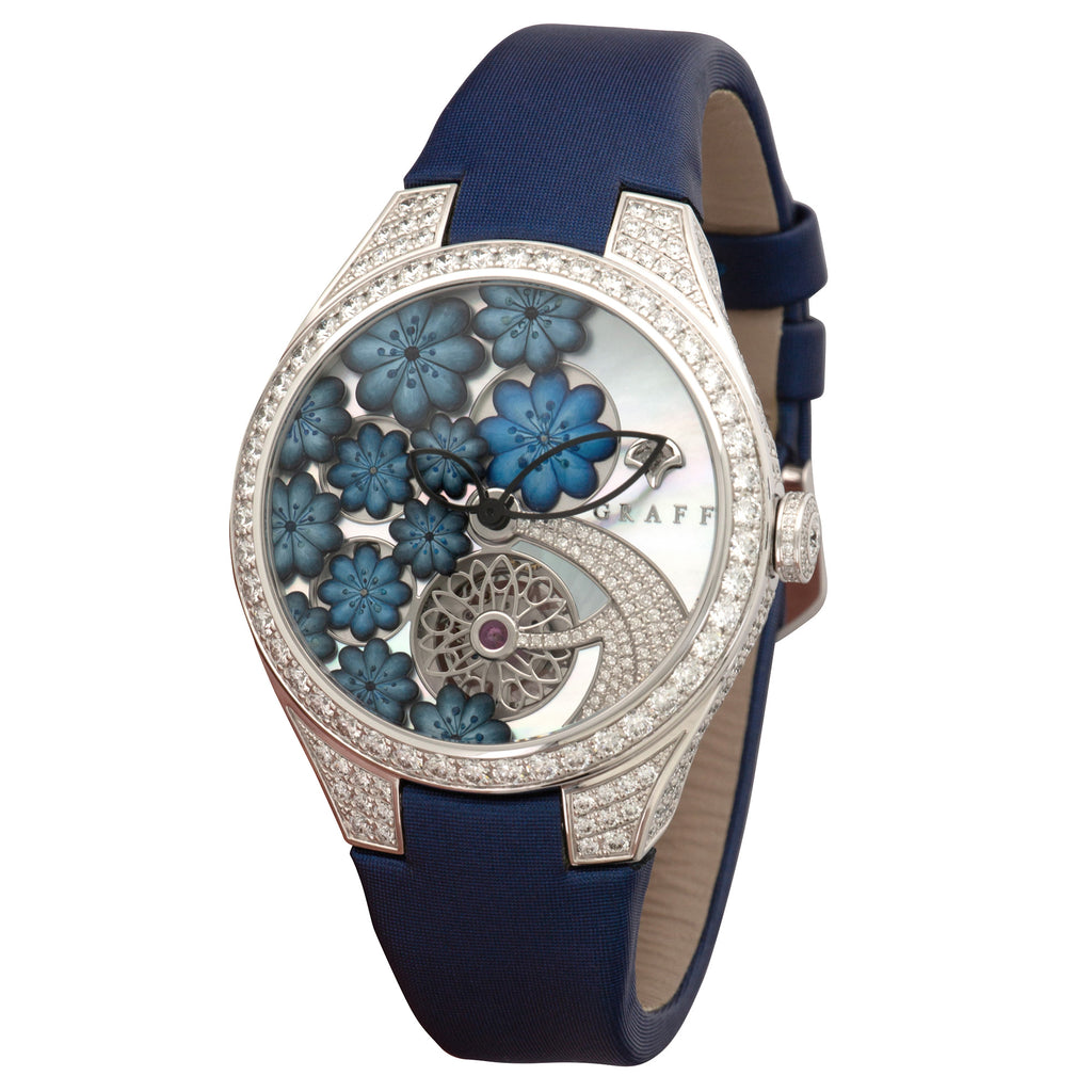 Graff Floral gfa37wgsld 18k WG  Unworn Ladies 18k WG Mother Of Pearl Floral 36mm Automatic Current Blue Strap Original Box and Certificate