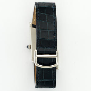 Cartier Assymmetric 2488 Platinum  Excellent Unisex Platinum Silver 25mm X 34mm Manual 1996 Dark Blue Crocodile Box