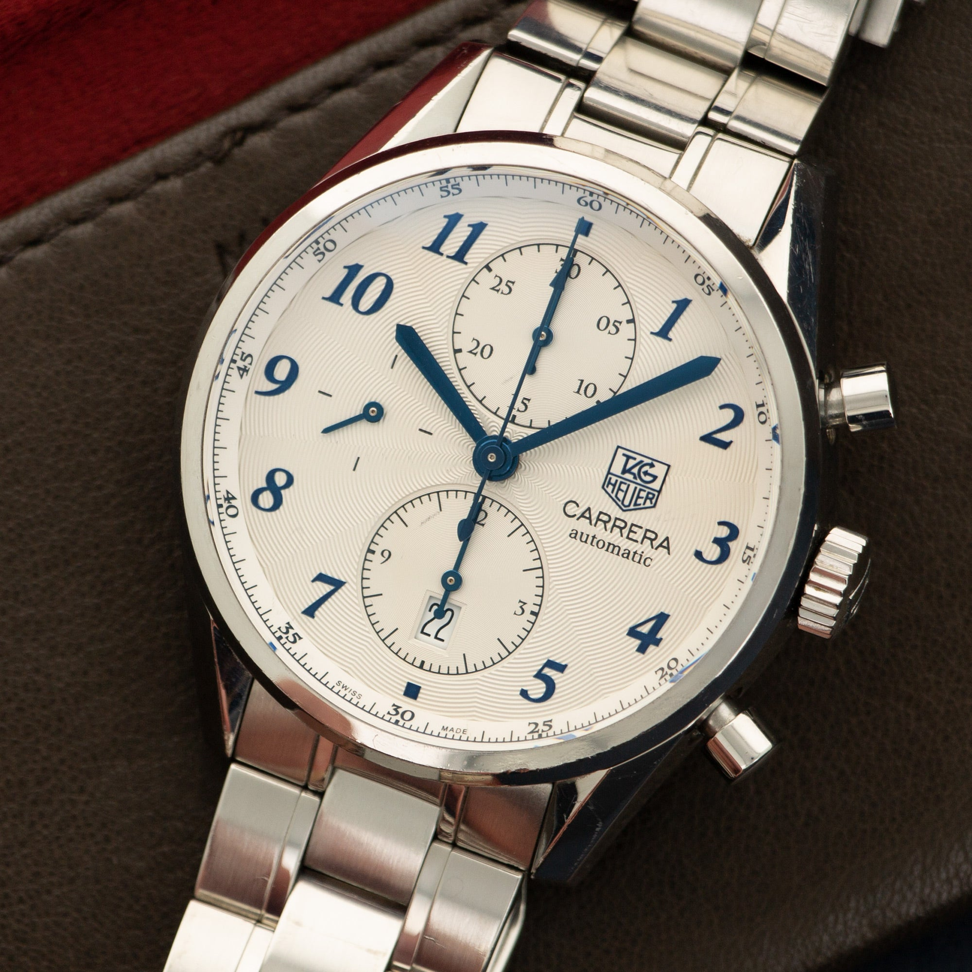 Tag Heuer Carrera CAS2111 Steel  Excellent Gents Steel Silver 41mm Automatic Current Steel Bracelet Handmade Leather Travel Pouch